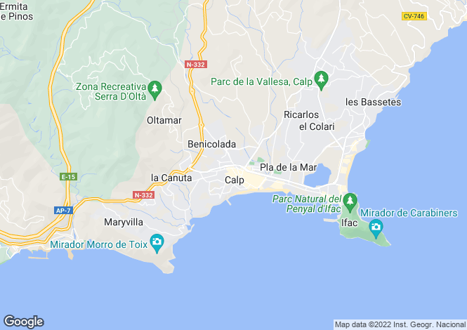 Map for Calpe, Valencia, 03710, Spain