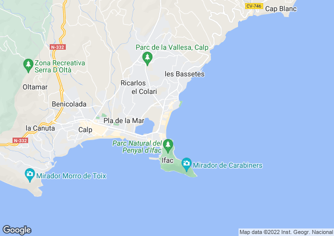 Map for Valencia, Alicante, Calpe