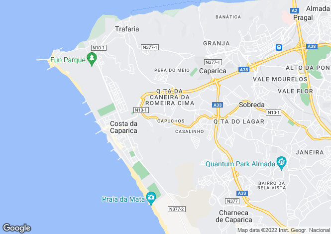 Map for Setúbal, Almada