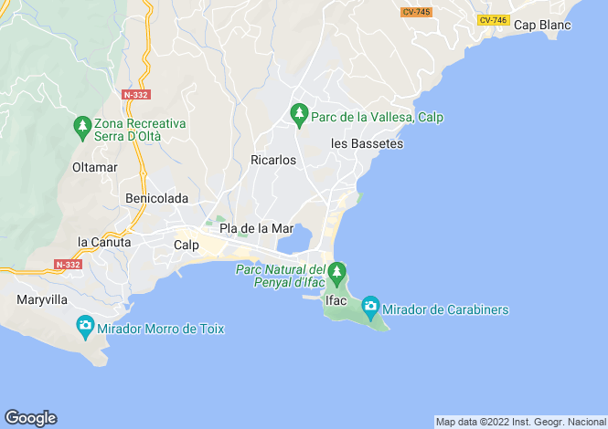 Map for Calpe, Alicante
