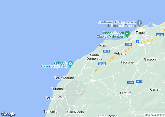 Map for Tropea, Vibo Valentia, Calabria