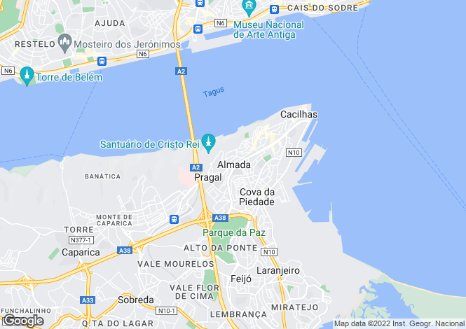 Map for Portugal,Setúbal,Almada