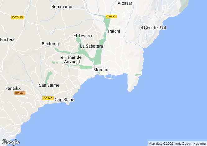 Map for Moraira, Alicante, Valencia