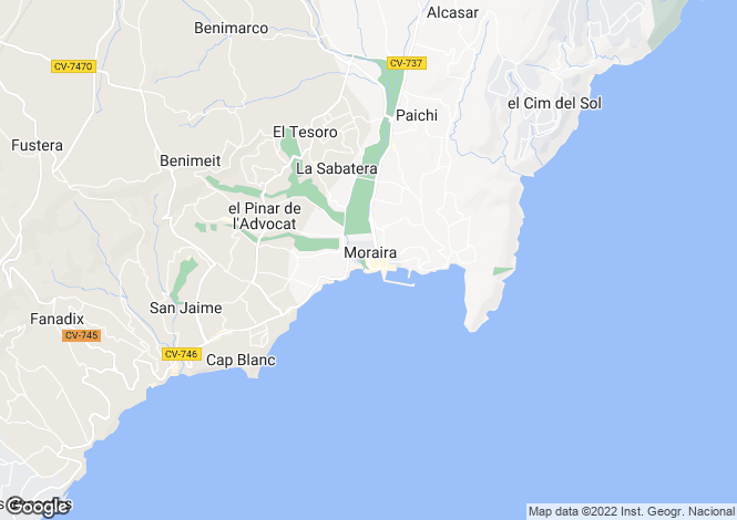Map for Valencia, Alicante, Moraira