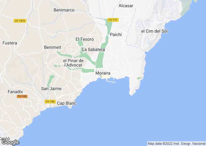 Map for Moraira, Alicante, Spain