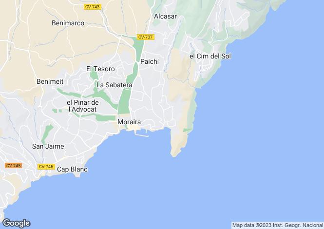 Map for Moraira, Alicante, Spain