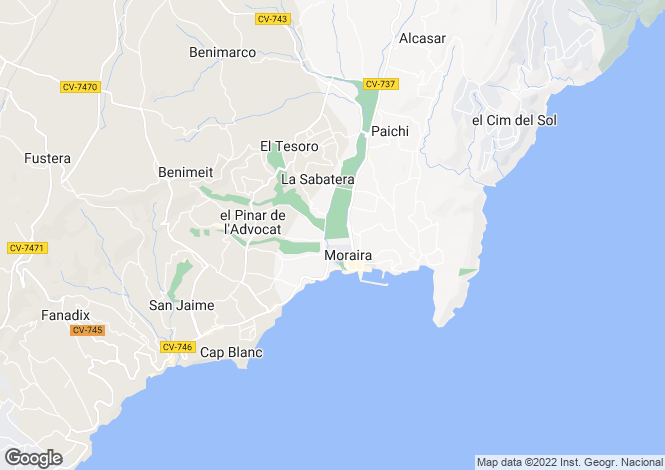 Map for Valencia, Alicante, Benissa Coastal