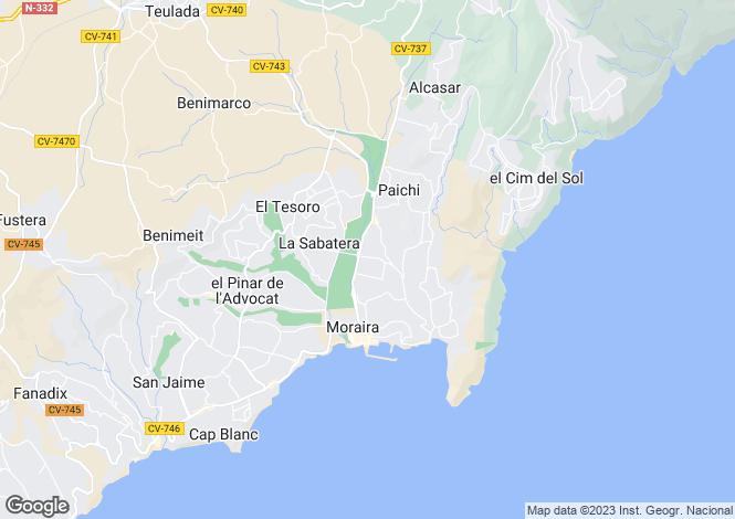 Map for Valencia, Alicante, Moraira