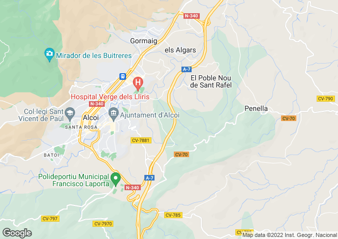 Map for Spain, Valencia, Alicante, Alcoy-Alcoi