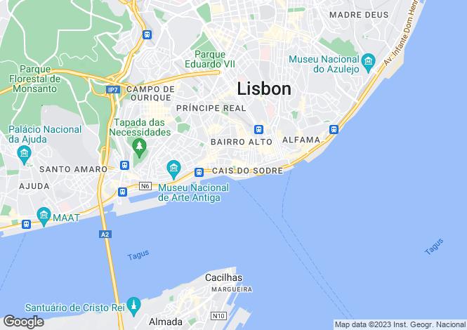 Map for Cais Do Sodré, Lisbon, Portugal, 1200-479