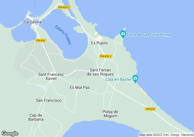 Map for San Francisco Javier, Formentera, Balearic Islands