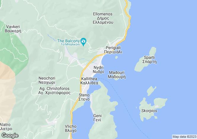 Map for Ionian Islands, Lefkada, Nydri