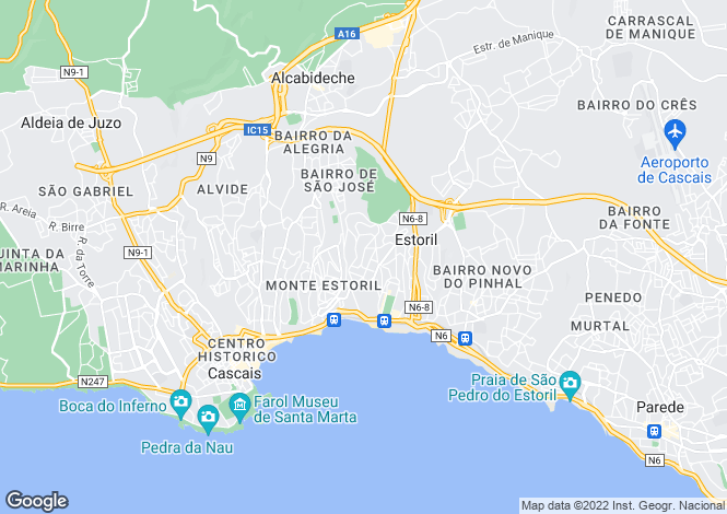 Map for Lisbon, Estoril
