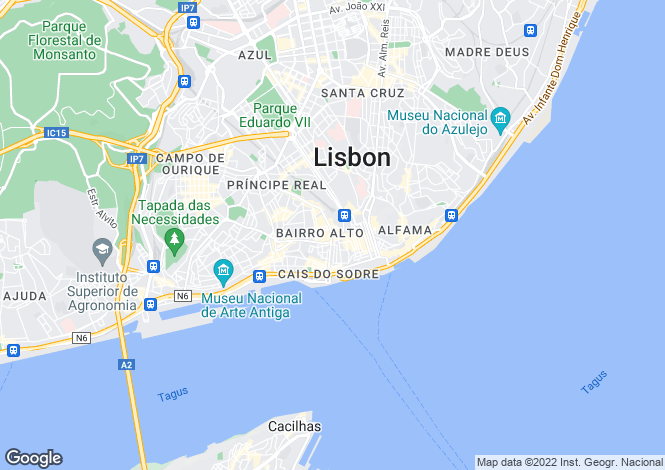 Map for 2 Bedroom Apartment, Chiado, Lisbon