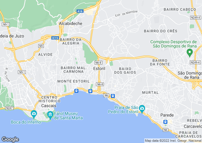 Map for Estoril, Cascais, Portugal