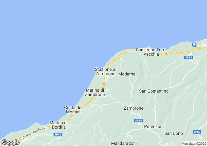 Map for Calabria, Vibo Valentia, Zambrone