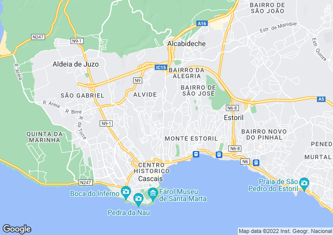 Map for Cascais, Lisbon, Portugal