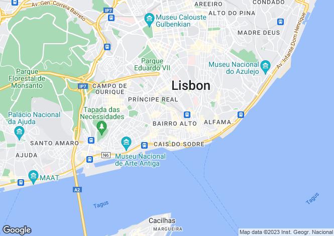 Map for Principe Real, Lisbon, Portugal