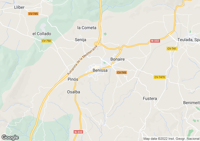 Map for Benissa, Spain