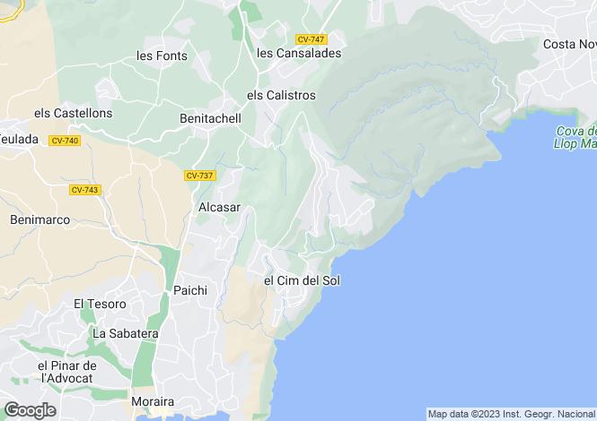 Map for Moraira, Alicante, Valencia