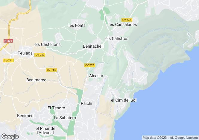 Map for Valencia, Alicante, Benitatxell