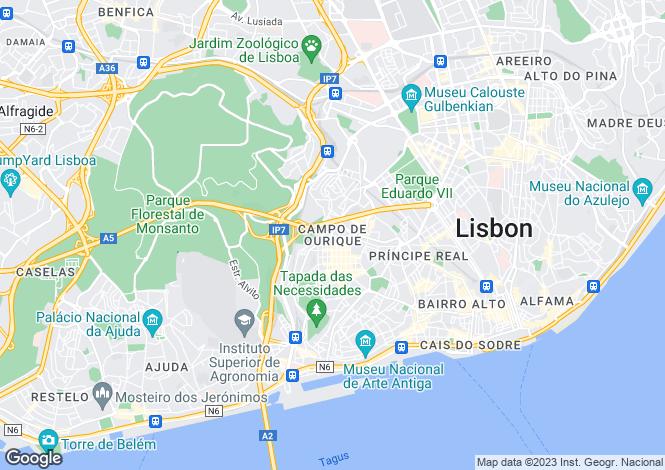 Map for Campo de Ourique, Lisbon, Portugal, 1070-030