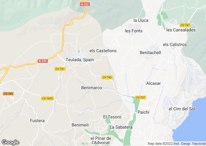 Map for Valencia, Alicante, Teulada