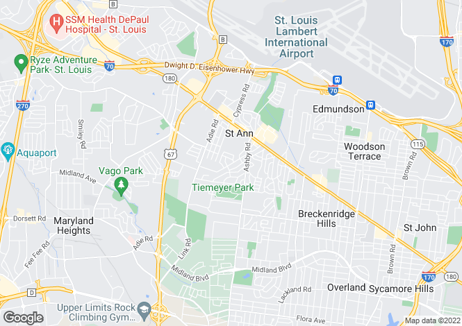 Map for USA - Missouri, St Louis County, St Ann