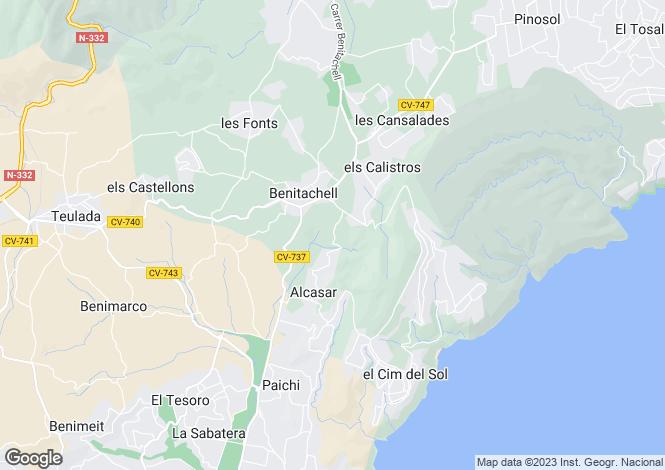 Map for Spain - Valencia, Alicante, Benitatxell