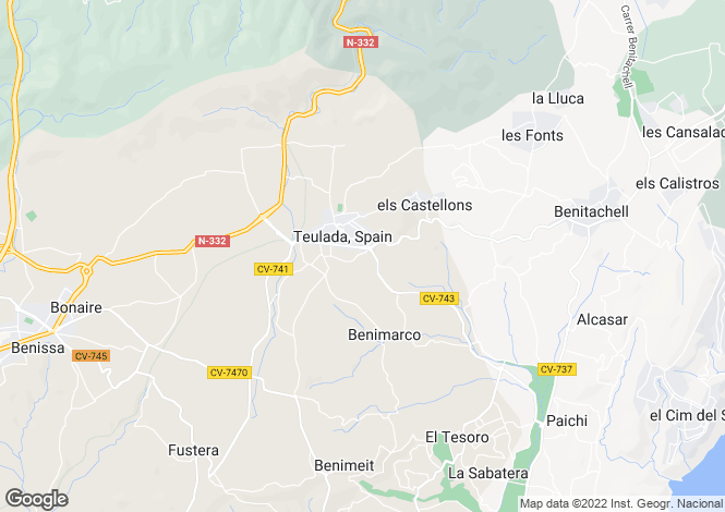 Map for Teulada, Spain