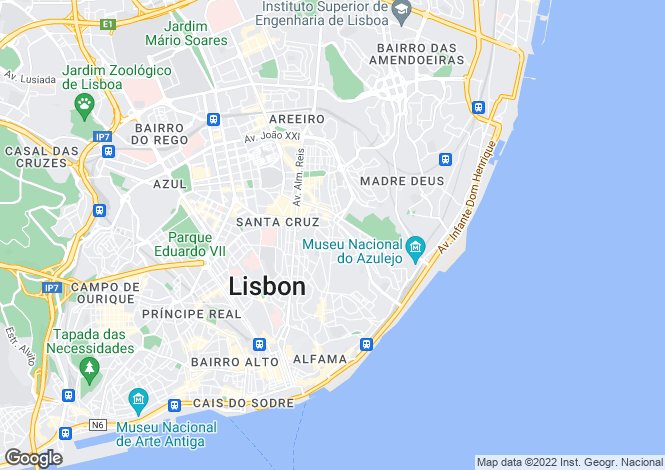 Map for Lisbon, Lisbon, Portugal