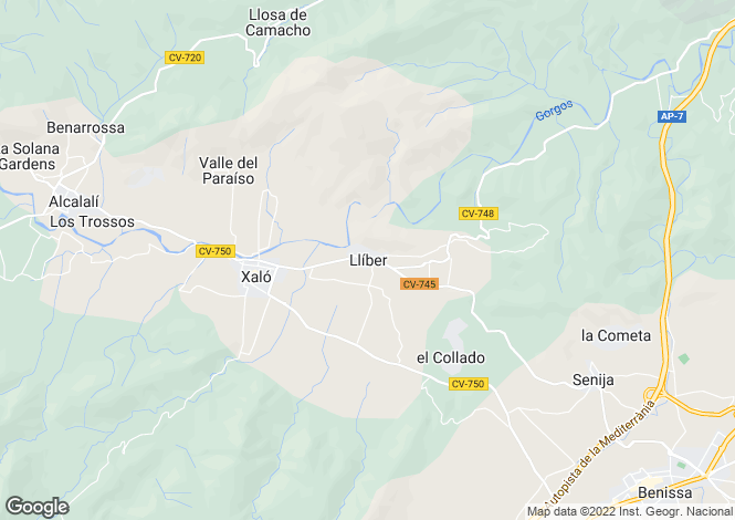 Map for Lliber, Valencia, 03724, Spain