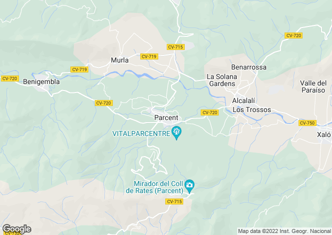 Map for Parcent, Spain