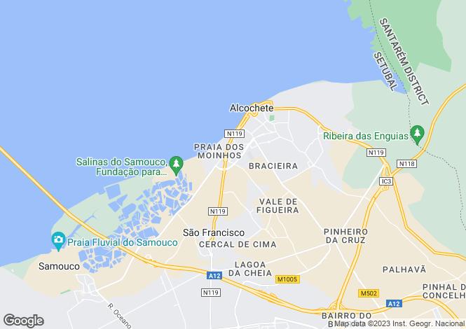 Map for Setúbal, Alcochete