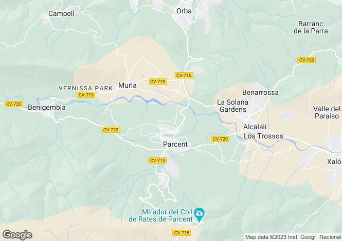 Map for Parcent, Alicante, Valencia