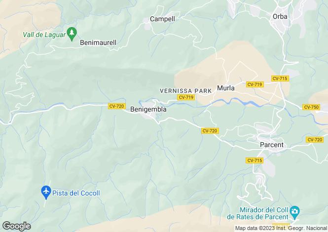 Map for Jalón Valley, Alicante, Valencia
