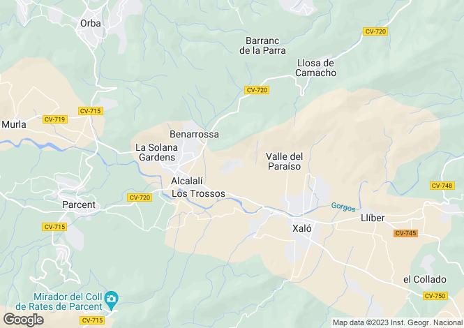 Map for Jalon, Alicante, Valencia