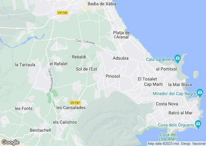 Map for Javea, Alicante, Spain