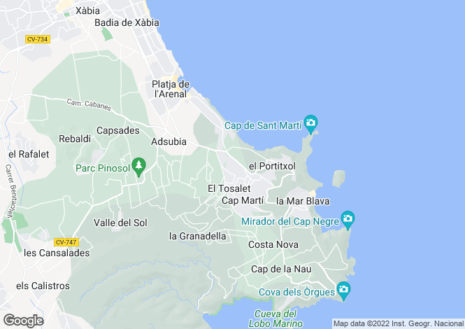 Map for Javea/xabia, Spain
