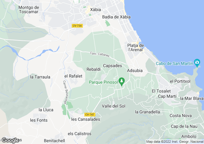 Map for Javea, Alicante, Valencia