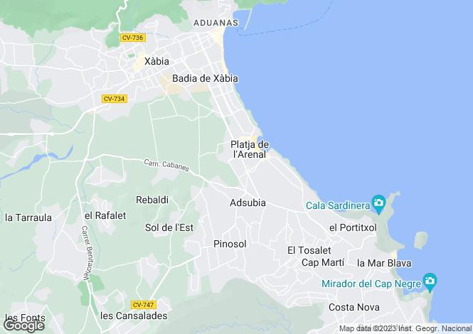 Map for Valencia, Alicante, Javea