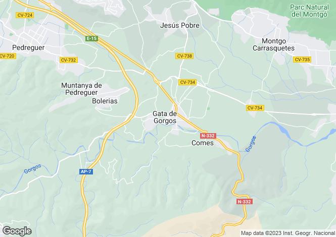 Map for Gata De Gorgos, Valencia, 03724, Spain