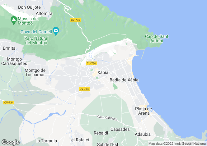 Map for Xabia-Javea, Valencia, 03724, Spain