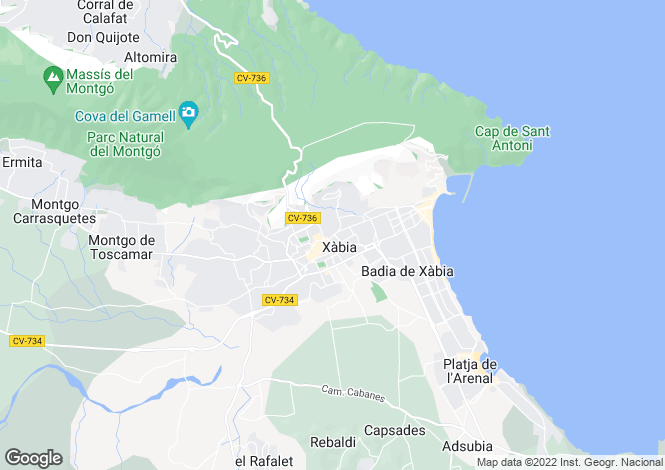 Map for Javea, Alicante, Spain