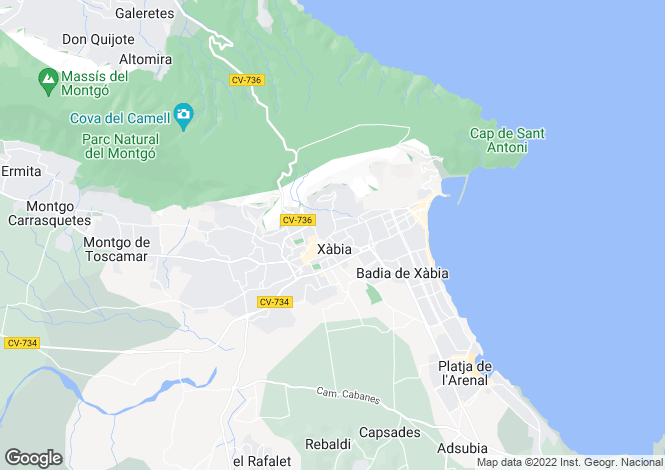 Map for Javea, Spain