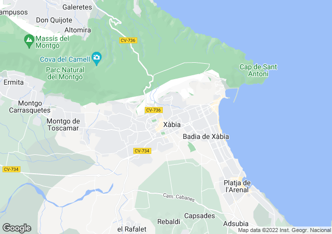 Map for Javea, Alicante, Valencia