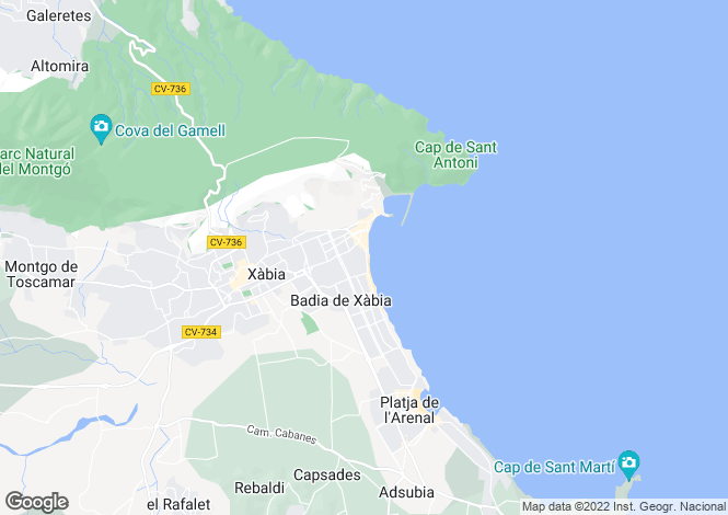 Map for Spain, Valencia, Alicante, Jávea-Xábia
