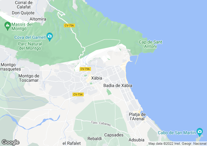 Map for Javea-Xabia