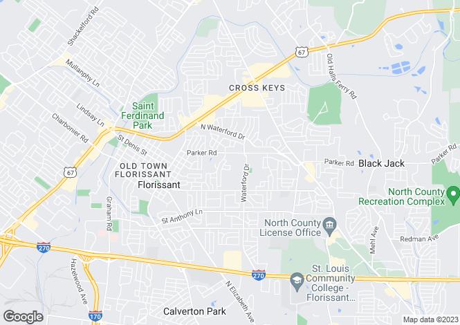 Map for USA - Missouri, St Louis County, Florissant