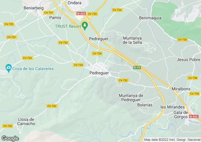 Map for Pedreguer, Valencia, 03730, Spain